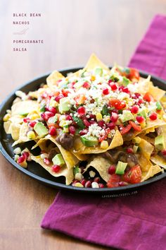 Black Bean Nachos with Pomegranate Salsa @Lindsay Dillon Dillon Landis | Love and Olive Oil