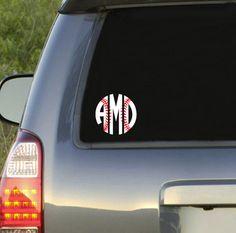 Preppy Baseball Monogram Car Decal