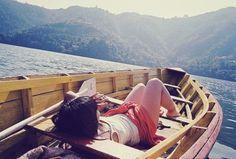 mountain, dream, sea, lake, sail away, travel, boat, place, cano
