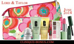 2 cosmetics bag with 6 Clinique products. All yours with $32 Clinique purchase at Lord and Taylor http://clinique-bonus.com/other-us-stores/