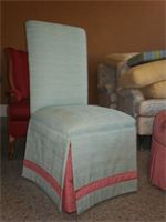 Parson Chair contrast banding and pleats