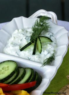 Tzatziki - a cool and creamy Greek dip.  Step-by-step photo tutorial.