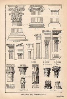 Antique Edwardian Architectural Print of Columns and Entablatures; Egyptian, Gothic, & Greek Corinthian.