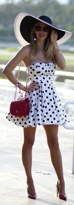 Strapless polka dots.