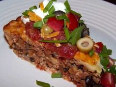"Seven Layer Impossible Taco Pie - a wonderful ""lighter"" version from @FaveDiets #recipe"