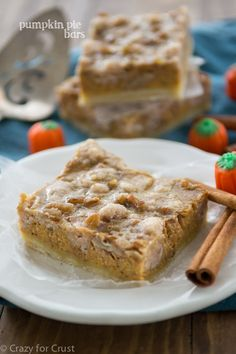 Pumpkin Pie Bars - these have a shortbread crust and a pecan crumble on top!