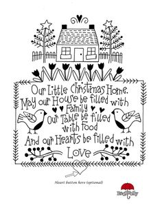 "Christmas Home Embroidery Sampler. by Redrolly. ""Our Little Christmas Home"", page 2 of 2/graph (heart button at bottom, optional)"