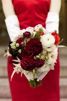 Christmas wedding red bouquet