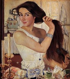 "Zinaida Serebriakova (1884-1967), Kharkiv, Ukraine. Symbolist, Expressionist, Art Deco painter. ""At The Dressing Table"". Oil on canvas, 75x65 cm."