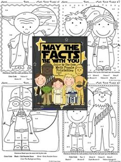May The Facts Be With You ~ Color By The Code Math Puzzle Printables! Use the children's love of Star Wars to practice basic addition and subtraction math facts as well as odd and even number recognition. This set includes 5 math puzzles: ~ One Color By The Sum ~ One Color By The Difference ~ Two Color By The Sum and Difference ~ One Color By The Sum Odd or Even Set also includes 5 answer keys. $