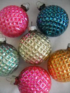 Shiny Brite 6 Diamond Pressed Glass Christmas Ornaments c1950