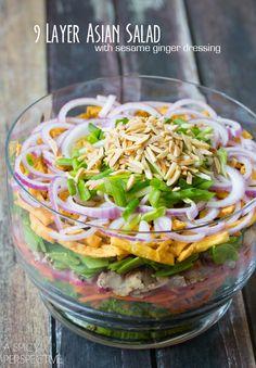 layer salad, chinese salads, chicken salads, salad dressings, asian salads