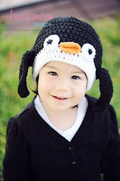 CROCHET Hat PATTERN - Penguin Beanie - ALL sizes included from preemies to adults - Easy - pdf via Etsy