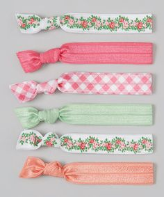 Rose & Mint Gingham & Floral Hair Tie Set #zulily #zulilyfinds