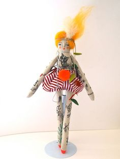 Tattoo Folk doll hand crafted art doll hand by JessQuinnSmallArt, £65.50