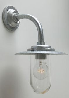 Galvanised well-glass lights, Swan neck wall lights, Classic exterior lighting, Exterior lighting, Holloways of Ludlow
