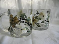 Dogwood Coffee Mugs by Morningglories1 on Etsy, $20.00