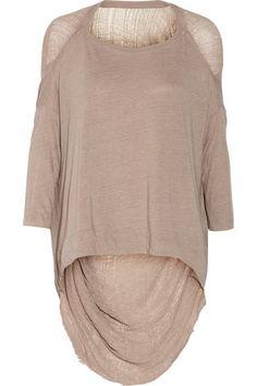 RAQUEL ALLEGRA Shredded cotton-blend jersey top