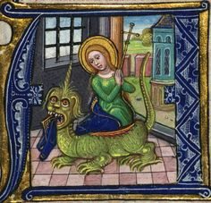 Illuminated Manuscript, Book of Hours, St. Margaret, Walters Manuscript W.168, fol. 222r by Walters Art Museum Illuminated Manuscripts, via Flickr.  Margaret of Antioch having her robes gummed to death by the devil.  The story goes that he ate her and because she was so holy, he threw her up.