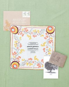 These awesome invites were screen-printed on vintage linens