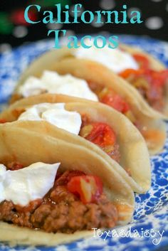 Recipe for Yummy California Tacos!  I haven't seen tacos made this way anywhere else