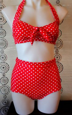 Really High Waist Bikini in Red Dot  with Tummy by avabelldesigns