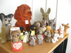 vintage flocked toy animal figurines collection