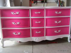 Gorgeous! Teen girl's room This would be cute to do if I needed to refurbish a dresser