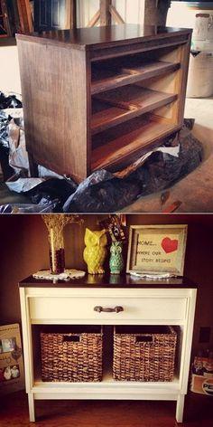 Dresser Makeover...Love the idea of using baskets<3