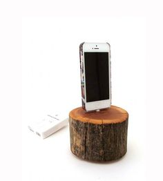 A cedar Iphone docking station perfect for rustic decor!