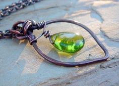 smooth olive green glass teardrop on oxidized copper - spring leaf necklace by jenuinejewels $40.00 #treasuremeteam #gift #jewelry #necklace