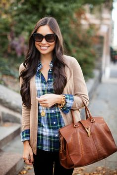 Plaid button-down with cardigan... Her hair is also perfect!