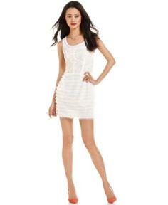 RACHEL Rachel Roy Dress, The Vita Sleeveless Scoop-Neck Lace Fringe Striped Sheath - Womens Dresses - Macy's