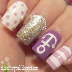 Purple Nautical Mismatch mani #nailart #manicure #nails #whitenails #polkadot #glitterpolish #lavenderstripes - bellashoot.com