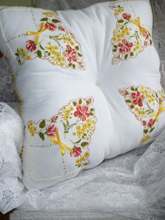 Vintage Handkerchief Tufted Pillow.