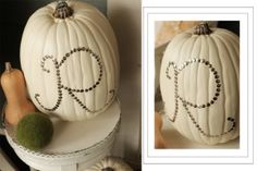 This project really is a simple and long lasting project.  These funkins {foam pumpkins} can be found at Michael's.  I bought them when they were 50% off {which they