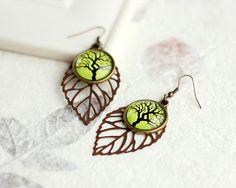 Tree Earrings, Green Earrings, Leaf Earrings, Floral Earrings, FREE shipping. $22.00, via Etsy.