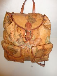 Leather world map backpack