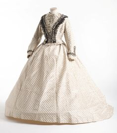 Dress: ca. 1860's, printed cotton or silk, lace on bodice. fashion, polka dots, antique clothing, dress, civil war, 1860, gown, histor cloth, war era