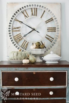 Huge clock on a blue and brown painted dresser / fall decorating via Miss Mustard Seed