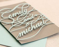 Monogram Wedding Invitations unique cutout wrap by TimelessPaper, $3.75