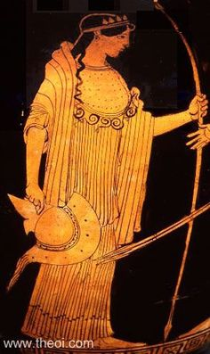 Athene  The goddess is depicted holding a spear in one hand and her helm in the other. Her breast is covered by the aigis, a snake-trimmed cloak.