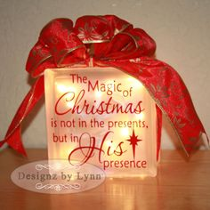 The Magic of Christmas Decorative Glass Block