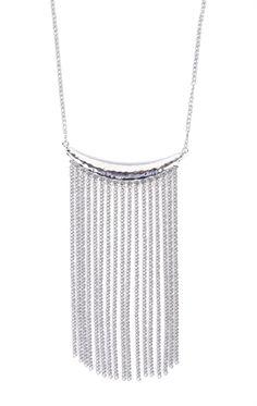 Deb Shops Short Necklace with Long Fringe Pendant $9.00