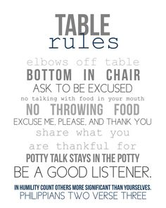 table rules 8x10 print  pick your color by NaptimeDiaries on Etsy, $12.00