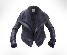 Black Leather Biker shearling Jacket by JOD   UK8 by eodwyer84, €239.00