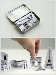 Free Downloadable Mini Travel Paper City Paris that fits in an Altoids Tin. This was redesigned to fit on one piece of paper by Made by Joel here. #diy #paper #crafts #paris #city #papercraft #eiffel_tower #altoids #altoids_tin #children #miniature #France