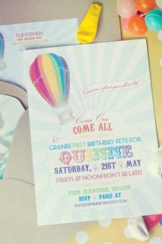hot air balloon party invites