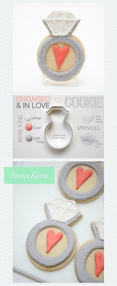 "Bridal Shower Cookies ""Engaged & In Love"" Diamond Rings"