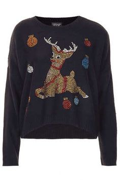 Topshop Knitted Crystal Reindeer Jumper | #christmas #fashion #style #holiday #xmasfashion #xmas